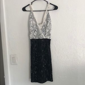 Black and white sequined dress